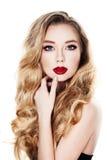 Blondes Haar-Frauen-Mode-Modell Isolated auf Weiß Lizenzfreie Stockfotos