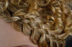 Blondes Haar geflochten in einer Flechte Lizenzfreie Stockbilder