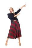 Blondes Haar vorbildlicher tragender Scottishrock lokalisiert auf Weiß Lizenzfreies Stockbild