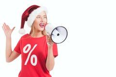 blondes haltenes Megaphon auf weißem Hintergrund Lizenzfreie Stockfotografie