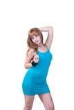 Blondes jugendlich mit großer schwarzer Perlenhalskette Lizenzfreies Stockfoto