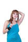 Blondes jugendlich mit großer schwarzer Perlenhalskette Lizenzfreie Stockbilder