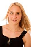 Blondes Jugendlichelächeln lokalisiert über weißem Hintergrund Stockbild