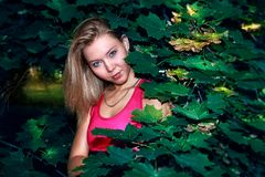 Blondes junges athletisches Mädchen im rosa festen T-Shirt steht grünen blühenden Baum an einem sonnigen Sommertag bereit Stockfotografie