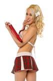 Blondes katholisches Schulmädchen Stockfoto