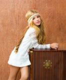 Blondes Kindmädchen Retro- 70s Lizenzfreie Stockfotos