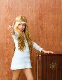 Blondes Kindmädchen Retro- 70s Lizenzfreie Stockbilder
