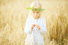 Blondes kleines Mädchen auf dem Gebiet Stockfoto
