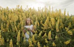 Blondes kleines Mädchen, das gelbe Wildflowers riecht stockbild