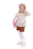 Blondes kleines Mädchen geht zur Schule Lizenzfreie Stockbilder