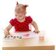 Blondes kleines Mädchen mit Zöpfen in einer roten Polka Stockbilder