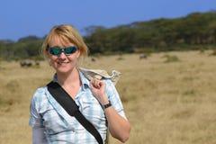 Blondes Mädchen in Afrika Lizenzfreie Stockbilder