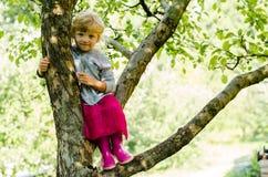 Blondes Mädchen auf Baum Lizenzfreies Stockbild