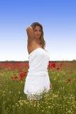 Blondes Mädchen auf dem Mohnblume-Gebiet Stockfoto