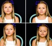 Blondes Mädchen auf Stuhlcollage Lizenzfreie Stockfotos