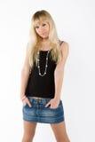 Blondes Mädchen auf Weiß Lizenzfreies Stockfoto