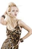 Blondes Mädchen auf Weiß Lizenzfreies Stockbild