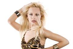 Blondes Mädchen auf Weiß Lizenzfreie Stockbilder