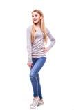 Blondes Mädchen auf weißem Hintergrund Lizenzfreies Stockbild