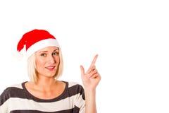 Blondes Mädchen betriebsbereit zum Weihnachten Lizenzfreies Stockbild