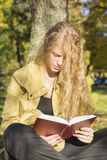 Blondes Mädchen, das ein Buch in einem Park an einem sonnigen Tag liest lizenzfreie stockbilder