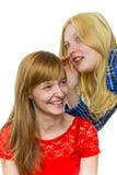 Blondes Mädchen, das im Ohr des Rothaarigemädchens flüstert Lizenzfreies Stockbild