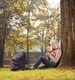 Blondes Mädchen, das telefonisch gesetzt im Park simst Stockfoto