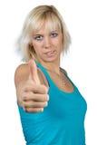 Blondes Mädchen - Daumen oben Lizenzfreies Stockfoto