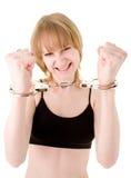 Blondes Mädchen in den Handschellen Lizenzfreies Stockbild
