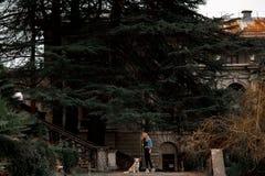 Blondes Mädchen in der kühlen Jeansjackenstellung im Park mit ihrem Hund stockfoto