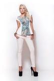 Blondes Mädchen der Mode, hohe Schlüsselszene Stockbilder