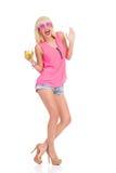 Blondes Mädchen an der Partei Stockfotografie
