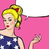 Blondes Mädchen der Pop-Art mit der reißenden Hand mit Spracheblase, Pop-Arten-Mädchen Vektor Victorianillustration Abbildung des stock abbildung