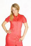 Blondes Mädchen der Schönheit im roten Kleid Lizenzfreie Stockfotos