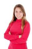 Blondes Mädchen des Jugendlichen im Rot Lizenzfreies Stockbild