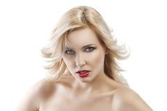 Blondes Mädchen des Tflying Haares, wird sie gedreht Lizenzfreie Stockfotografie