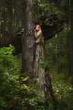 Blondes Mädchen in einem magischen Wald Stockfotos