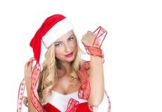 Blondes Mädchen gekleidet als Santa Claus Lizenzfreies Stockfoto