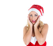 Blondes Mädchen gekleidet als Santa Claus Lizenzfreie Stockfotografie