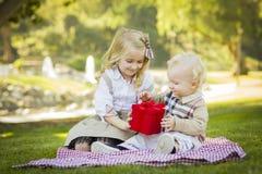 Blondes Mädchen gibt ihren Baby-Bruder Valentine Gift Lizenzfreie Stockfotografie
