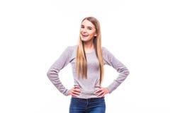 Blondes Mädchen, Hände auf Schultern, auf weißem Hintergrund Lizenzfreie Stockbilder