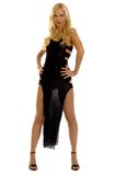 Blondes Mädchen im Abendkleid Stockfotos