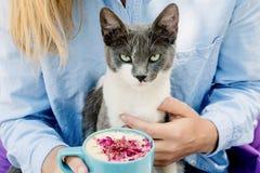 Blondes Mädchen im Jeanshemd, das eine blaue Cappuccinoschale und -spiel mit netter Katze hält Lizenzfreie Stockfotos