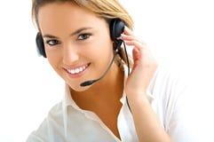 Blondes Mädchen im Kundenkontaktcenter Lizenzfreies Stockfoto