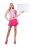 Blondes Mädchen im Rosa mit dem Plakat lokalisiert auf Weiß Stockfotos