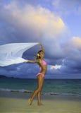 Blondes Mädchen im rosafarbenen Bikini und im Chiffon Lizenzfreies Stockbild