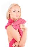 Blondes Mädchen im rosafarbenen Kleid Lizenzfreies Stockfoto
