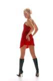 Blondes Mädchen im roten Night-dress Lizenzfreie Stockfotografie
