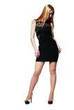 Blondes Mädchen im schwarzen Kleid Stockfotografie