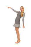 Blondes Mädchen im Tupfenkleid lokalisiert auf Weiß Lizenzfreie Stockfotos